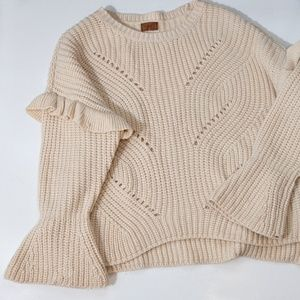 POL Cable Knit Bell Sleeve Chunky Sweater Size L